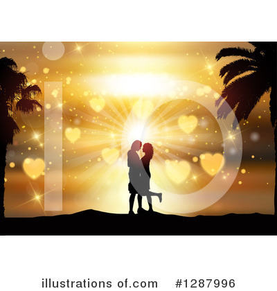 Kissing Couple Clipart #1287996 by KJ Pargeter