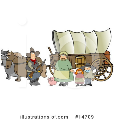 Royalty-Free (RF) Covered Wagon Clipart Illustration by Dennis Cox - Stock Sample #14709