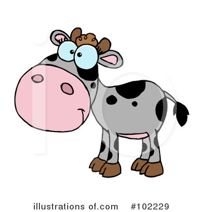 Royalty-Free (RF) Cow Clipart Illustration by Hit Toon - Stock Sample #102229