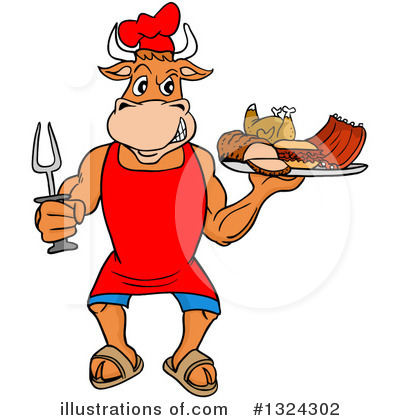 Bull Clipart #1324302 by LaffToon