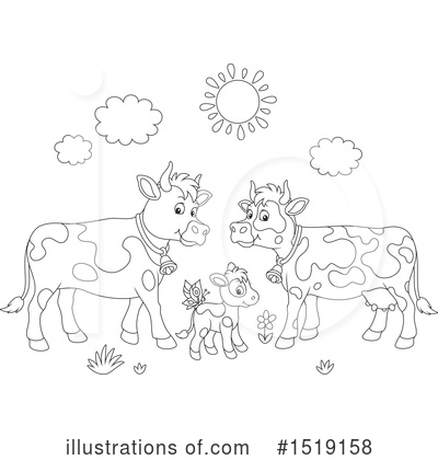 Royalty-Free (RF) Cow Clipart Illustration by Alex Bannykh - Stock Sample #1519158