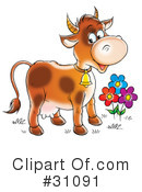 Royalty-Free (RF) Cow Clipart Illustration #31091