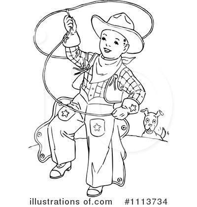 Royalty-Free (RF) Cowboy Clipart Illustration by Prawny Vintage - Stock Sample #1113734