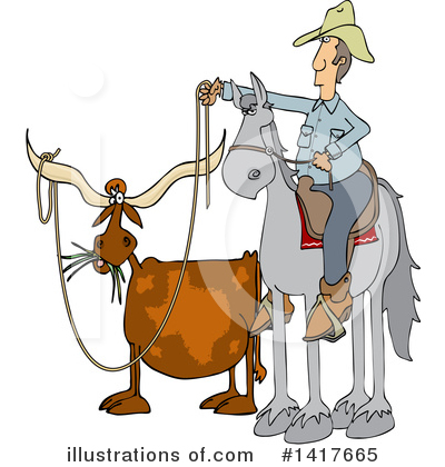 Royalty-Free (RF) Cowboy Clipart Illustration by djart - Stock Sample #1417665