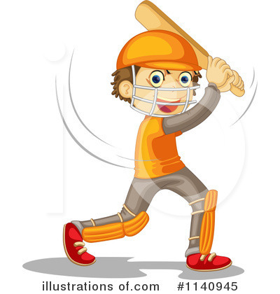 Cricket Player Clipart #1140945 by Graphics RF