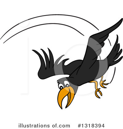 Royalty-Free (RF) Crow Clipart Illustration by LaffToon - Stock Sample #1318394