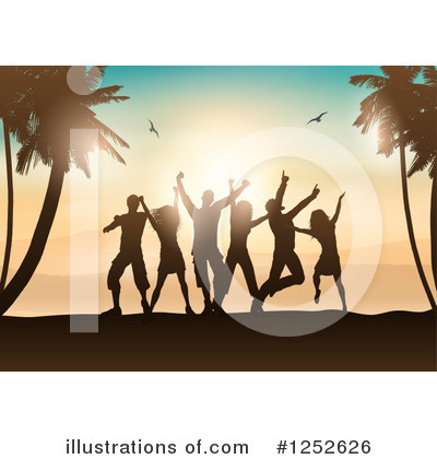Tropical Beach Clipart #1252626 by KJ Pargeter