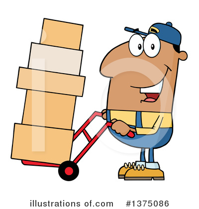 Royalty-Free (RF) Delivery Man Clipart Illustration by Hit Toon - Stock Sample #1375086