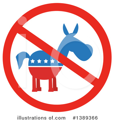 Democratic Donkey Clipart #1389366 by Hit Toon