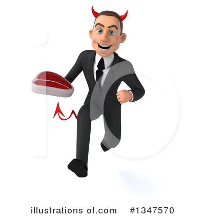 Royalty-Free (RF) Devil White Businessman Clipart Illustration by Julos - Stock Sample #1347570
