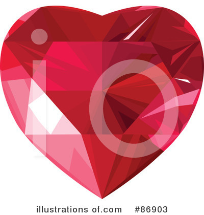Royalty-Free (RF) Diamond Heart Clipart Illustration by Pushkin - Stock Sample #86903