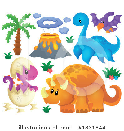 Royalty-Free (RF) Dinosaur Clipart Illustration by visekart - Stock Sample #1331844