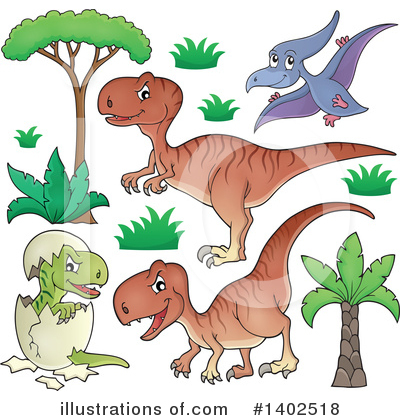 Royalty-Free (RF) Dinosaur Clipart Illustration by visekart - Stock Sample #1402518