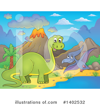 Royalty-Free (RF) Dinosaur Clipart Illustration by visekart - Stock Sample #1402532