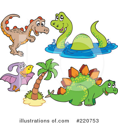 Royalty-Free (RF) Dinosaurs Clipart Illustration by visekart - Stock Sample #220753