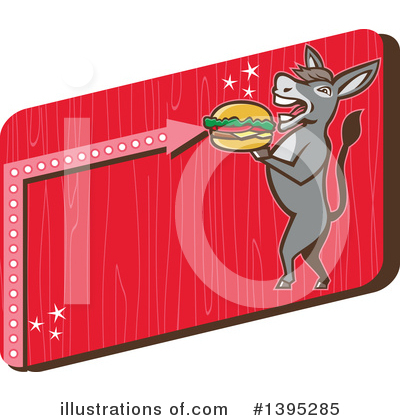 Royalty-Free (RF) Donkey Clipart Illustration by patrimonio - Stock Sample #1395285