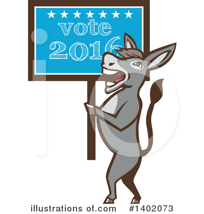 Democratic Donkey Clipart #1402073 by patrimonio
