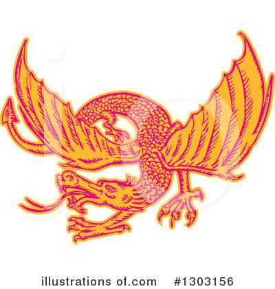 Royalty-Free (RF) Dragon Clipart Illustration by patrimonio - Stock Sample #1303156