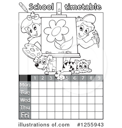 School Timetable Clipart #1255943 by visekart