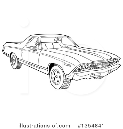 Royalty-Free (RF) El Camino Clipart Illustration by LaffToon - Stock Sample #1354841