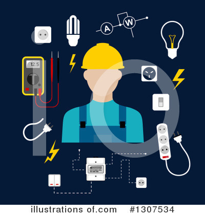 Electrician Clipart #1307534 by Vector Tradition SM