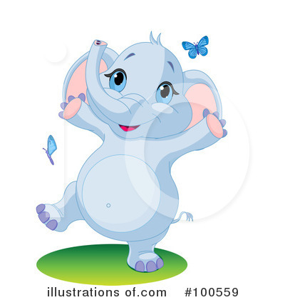 Royalty-Free (RF) Elephant Clipart Illustration by Pushkin - Stock Sample #100559