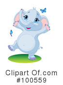 Royalty-Free (RF) Elephant Clipart Illustration #100559