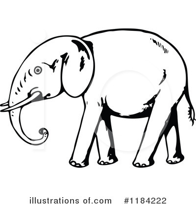 Royalty-Free (RF) Elephant Clipart Illustration by Prawny Vintage - Stock Sample #1184222