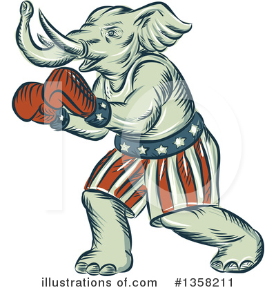 Republican Elephant Clipart #1358211 by patrimonio