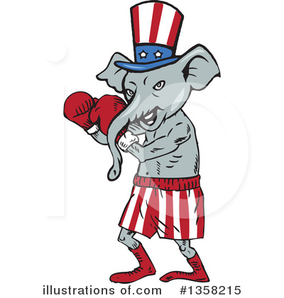 Republican Elephant Clipart #1358215 by patrimonio