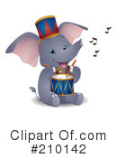 Royalty-Free (RF) Elephant Clipart Illustration #210142