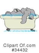 Royalty-Free (RF) Elephant Clipart Illustration #34432