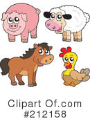 Royalty-Free (RF) Farm Animals Clipart Illustration #212158