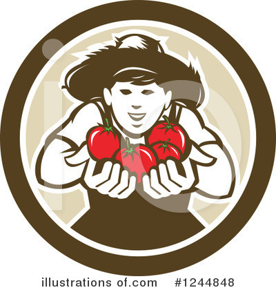 Royalty-Free (RF) Farmer Clipart Illustration by patrimonio - Stock Sample #1244848