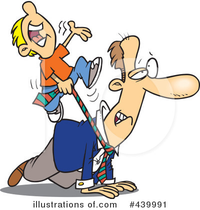 Cartoon of Children and Dad