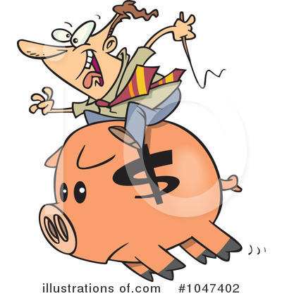 Piggy Bank Clipart #1047402 by toonaday
