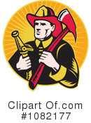 Royalty-Free (RF) Fireman Clipart Illustration #1082177