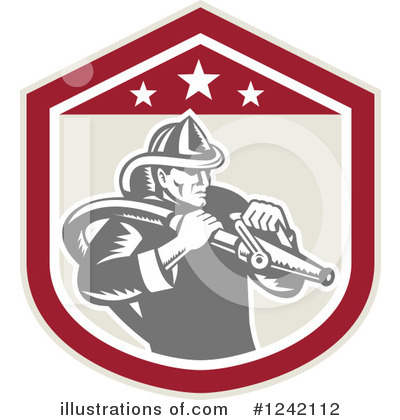 Royalty-Free (RF) Fireman Clipart Illustration by patrimonio - Stock Sample #1242112