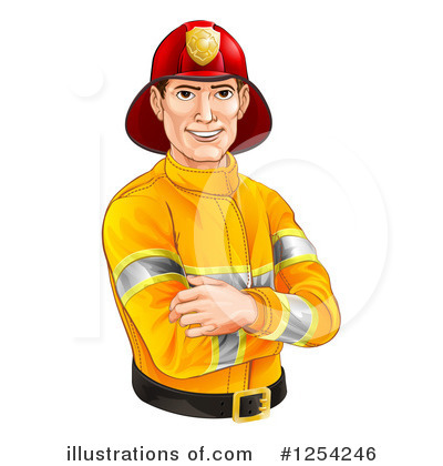 Fireman Clipart #1254246 by AtStockIllustration