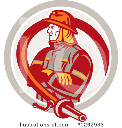 Royalty-Free (RF) Fireman Clipart Illustration by patrimonio - Stock Sample #1262933