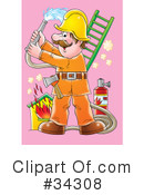 Royalty-Free (RF) Fireman Clipart Illustration #34308