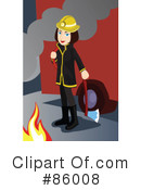 Royalty-Free (RF) Fireman Clipart Illustration #86008