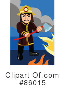 Royalty-Free (RF) fireman Clipart Illustration #86015