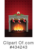 Royalty-Free (RF) Fireplace Clipart Illustration #434243