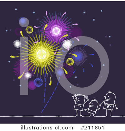 Royalty-Free (RF) Fireworks Clipart Illustration by NL shop - Stock Sample #211851