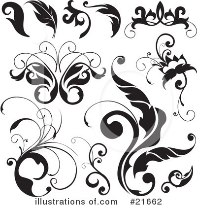 Royalty-Free (RF) Floral Elements Clipart Illustration by OnFocusMedia - Stock Sample #21662
