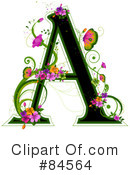 Royalty-Free (RF) floral letter Clipart Illustration #84564