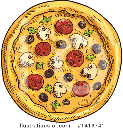 Pizza Clipart #1416741 by Vector Tradition SM