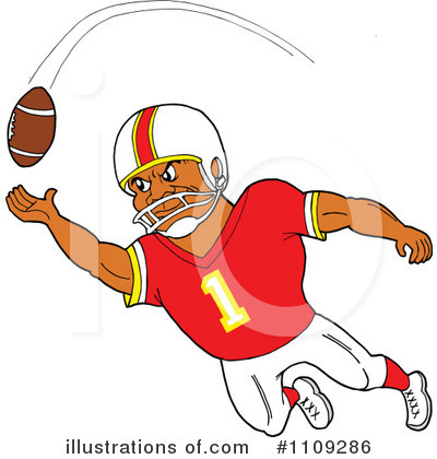 Royalty-Free (RF) Football Player Clipart Illustration by LaffToon - Stock Sample #1109286
