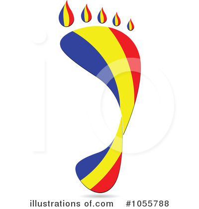 Royalty-Free (RF) Footprint Flag Clipart Illustration by Andrei Marincas - Stock Sample #1055788